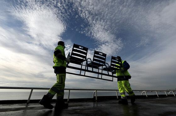 Coronavirus Stühle Entfernen Promenade Nice Nizza Frankreich Verhindern Ansammlung Lockdown