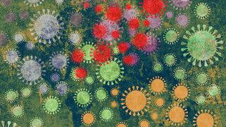 Coronavirus Varianten Mutation Illustration Weltkarte