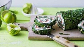 Lachs-Spinat-Röllchen mit Limette