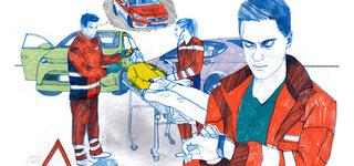 Illustration Notfallsanitäter und Notarzt