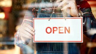 Restaurant Öffnen Schild Open Hände Tür Glas Close Offen