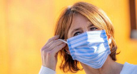 Coronavirus Selbstgenäht Maske Atemschutz Viren Vorbeugung Schutzmaßnahme Verordnung