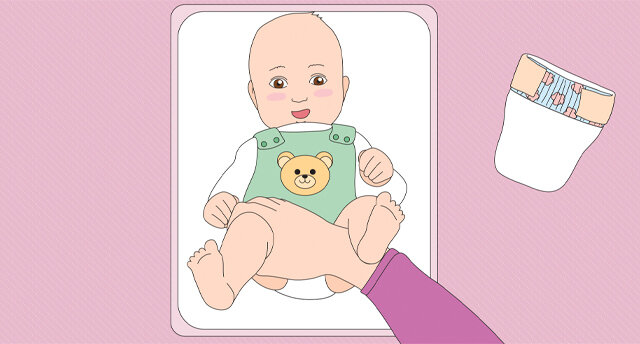 Illustration: Baby wickeln